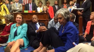 Democrats stage a sit in.