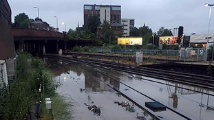 Flooded railway tracks at Clapham Junction