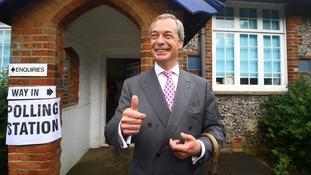 Nigel Farage outside a polling station in Kent.