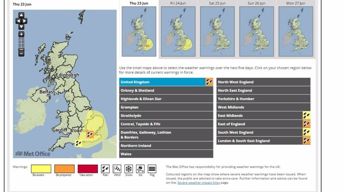A Met Office weather warning overview for Thursday.