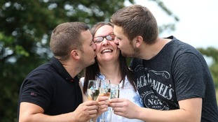 Susan celebrates with her sons.