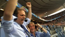 Gudmundur Benediktsson's ecstatic reaction to the goal.