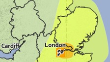 Areas covered by amber and yellow weather warnings for Thursday into Friday.