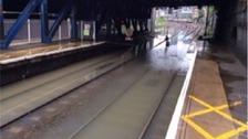 Flooding at Manor Park station.