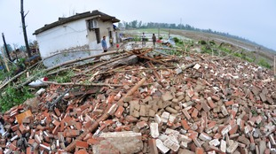 Debris of damaged houses in Yangcheng, Jiangsu province