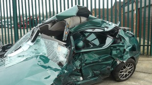Andy Turner's car after the crash in February 2012