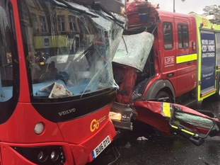 The fire engine appeared to have had its front ripped off