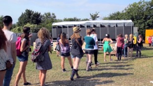 Queueing for the loo at Glastonbury...