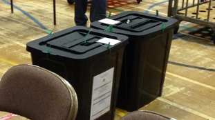 Ballot boxes arrive at the count in Carlisle