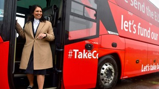 Priti Patel on the Vote Leave battle bus during the referendum campaign.