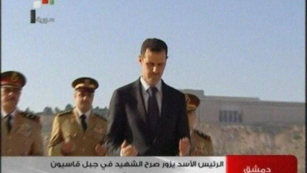 Syrian state TV showed President Assad laying a wreath at the tomb of the unknown soldier today