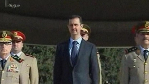 Syrian state TV showed President Assad making a rare public appearance