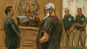 Islamist cleric Abu Hamza al-Masri is seen in this courtroom sketch during a court appearance in Manhattan Federal Court in New York