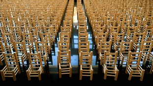 Evolving  artwork 'Empty Chairs' by Mike Yorke showing soldiers lost in action during the conflict in Afghanistan