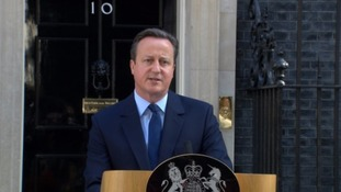 David Cameron announcing his resignation.