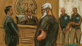 Abu Hamza is seen in this courtroom sketch during a court appearance in Manhattan Federal Court in New York on Saturday.