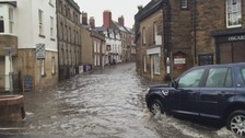 Heavy rain causes flooding in Alnwick