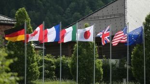 The flags of the G7 nations.