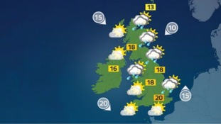 Sunshine and scattered showers for much of the UK