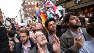 Londoners gathered in Old Compton Street the day after the Orlando shooting