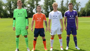 Luton Town players in their new kit