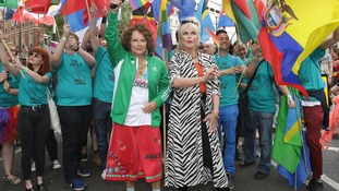 Ab Fab stars Jennifer Saunders and Joanna Lumley at the start of this year's Pride in London