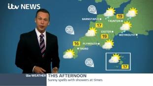 Sunny spells & showers today, rain due tomorrow