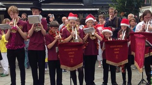 Hebden Bridge junior band kicked off the celebrations