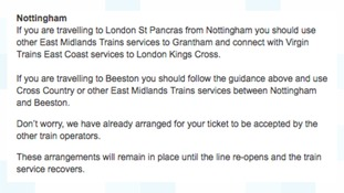 The train company has issued details of the routes affected.