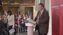 Terence Smith- the youngest mayor in Britain - introduces Jeremy Corbyn
