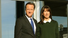 Prime Minister David Cameron and his wife Samantha arrive at the Conservative Party 