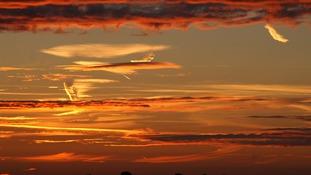 Sunset on Saturday in Downham Market, Norfolk