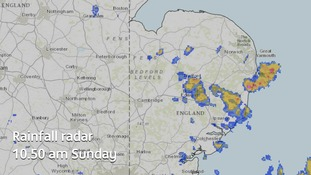 There are still showers across the Anglia region on Sunday morning and more are expected in the afternoon.