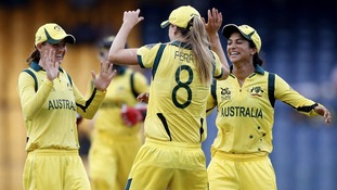 Australia's bowler Lisa Sthalekar, right, the dismissal of England's captain Charlotte Edwards