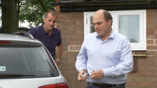 Ben Wallace MP (right) is greeted by Jake Berry MP.