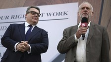 Tom Watson and Jeremy Corbyn speak at a Remain rally in London.