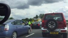 Traffic at a standstill on the M11 near Bishop's Stortford