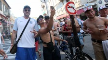 Boxer Tyson Fury is greeted in the streets by England supporters in Nice.