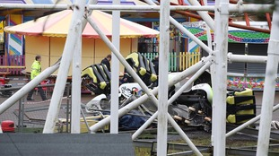 The wreckage of the rollercoaster.
