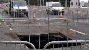 Huge sinkhole on A1 causes major delays for drivers