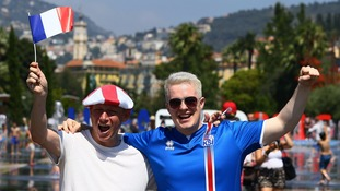 England and Iceland fans in Nice ahead of the game.