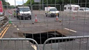 The sinkhole on the A1 near Gateshead