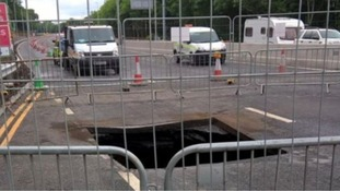 The A1 sinkhole near Lobley Hill