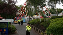 Police officers at M&D's amusement park in North Lanarkshire.