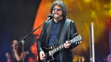 Jeff Lynne performing with ELO on the Pyramid Stage at the Glastonbury Festival