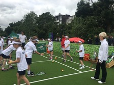 The children practiced their tennis skills