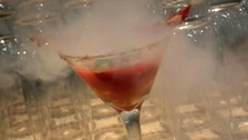 A cocktail containing liquid nitrogen