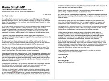 Karin Smyth wrote the letter to her constituency