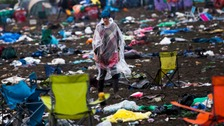 Glastonbury: Revellers depart leaving tonnes of rubbish