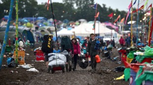 Revellers leave Glastonbury